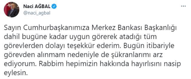 Görevden alınan Eski Merkez Bankası Başkanı Ağbal'dan ilk açıklama: Cumhurbaşkanımıza atadığı tüm görevlerden dolayı teşekkür ederim